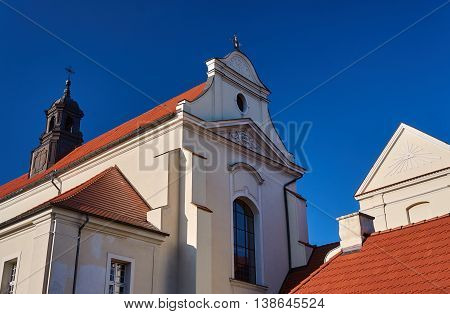 The baroque church with a bell tower in Gniezno