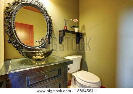 Amazing Bathroom Interior With Design Glass Sink And Orchid Pot On The Shelf