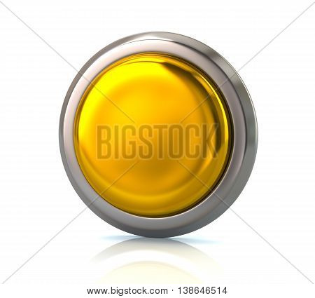 3d illustration. Blank gold button isolated on white background