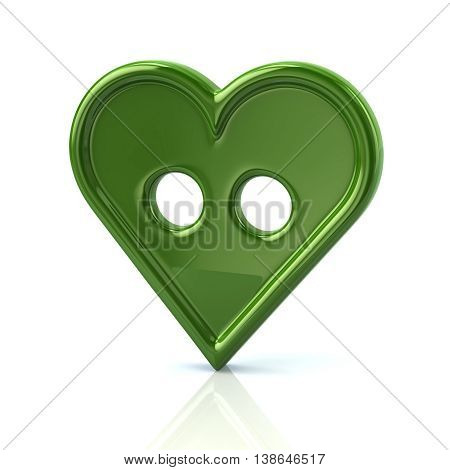 3D Illustration Of Green Button In The Shape Of A Heart