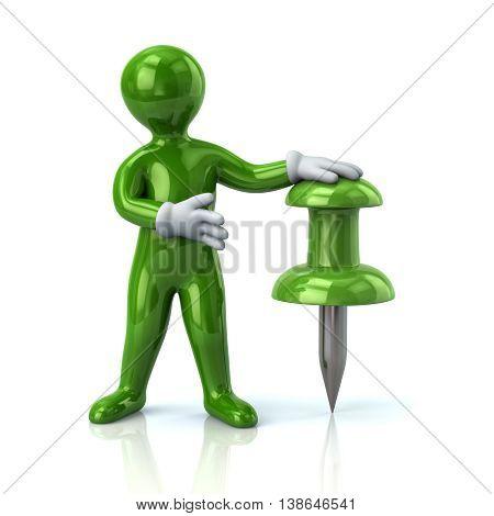 3D Illustration Of Green Man And Push Pin