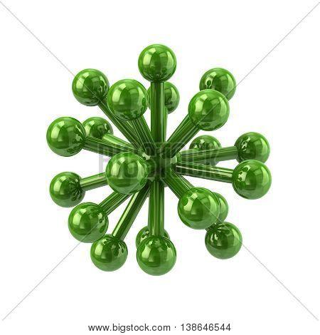 3D Illustration Of Green Molecular Structure