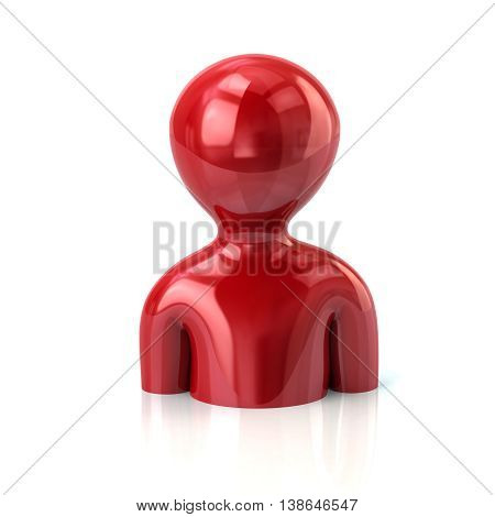 3D Illustration Of Red Profile Icon