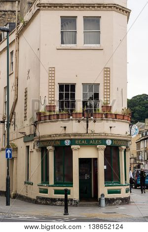 BATH SOMERSET UK - JULY 15 2016 Hobgoblin Public House building. Pub on St. James's Parade in the UNESCO World Heritage City of Bath in Somerset England