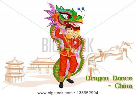 Vector design of Chinese Man performing Dragon dance of China
