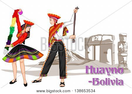 Vector design of Bolivian Couple performing Huayno dance of Bolivia