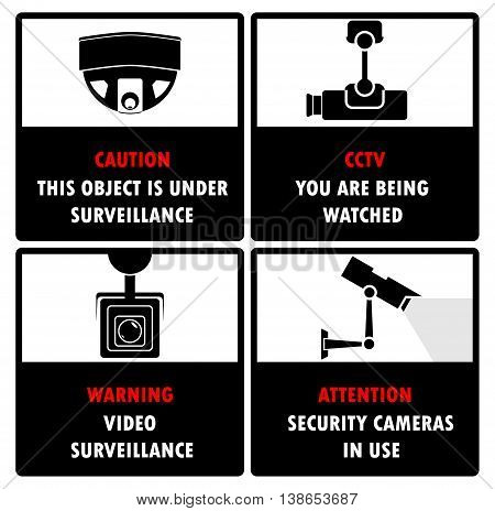 Surveillance cameras icons with appropriate warning text,