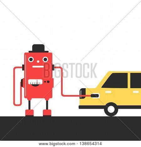 Bowser robot. Refuel car at gas station concept flat style. Gasoline pump. Vector illustration.