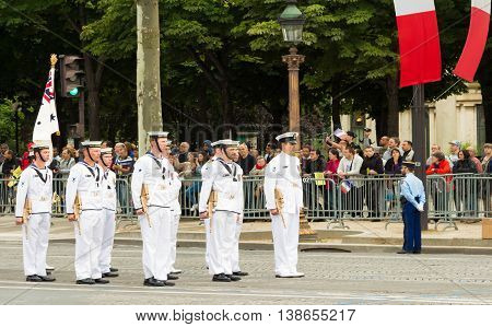 Paris France-July 14 2016 : The sailors of Australian Royal Navy participate in Bastille Day military parade on Champs Elysees avenue on the occasion of the centennial anniversary of the Battle of Somme.