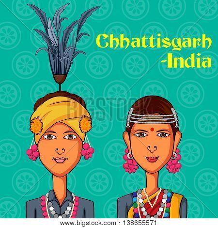 Vector design of Chhattisgarhi Couple in traditional costume of Chhattisgarh, India