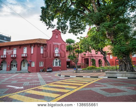 MALACCA MALAYSIA - FEB 29: Malacca Art Gallery at Dutch Square historical city centre on Feb 29 2016 in Malacca Malaysia. Malacca was included in the list of UNESCO World Heritage Sites in 2008.