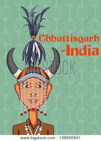 Vector design of Chhattisgarh Man in traditional costume of Chhattisgarh, India