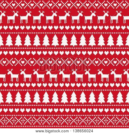 Christmas seamless pattern, card - Scandinavian sweater style. Cute Christmas background - Xmas trees, deers, hearts and snowflakes. Design for textile, wallpaper, web, fabric, decor etc.