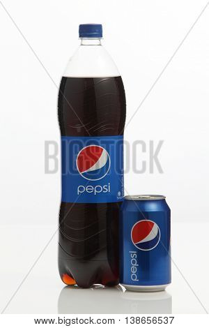 Kuala Lumpur,Malaysia -15 July 2016  Pepsi-Cola can and plastic bottle isolated on white background