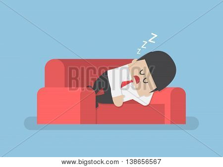 Lazy Businessman Sleeping On The Couch