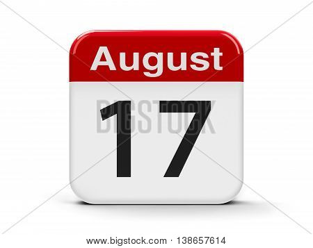 Calendar web button - The Seventeenth of August three-dimensional rendering 3D illustration