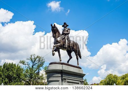 George Washington Monument In Public Garden Boston