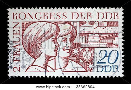 ZAGREB, CROATIA - JULY 02: A stamp printed in GDR (East Germany), shows two young women, devoted to the Second Congress of Women GDR, circa 1969, on July 02, 2014, Zagreb, Croatia
