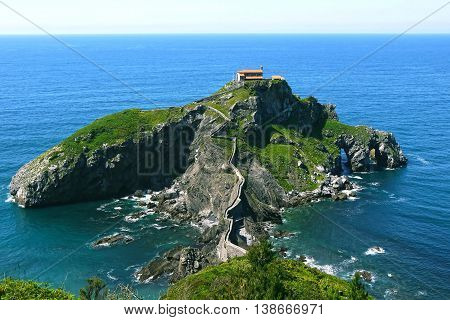 Beautiful view of San Juan de Gaztelugatxe. SPAIN.
