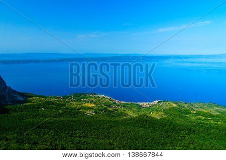 View on the Podgora from Biokovo,in the background the island  Hvar