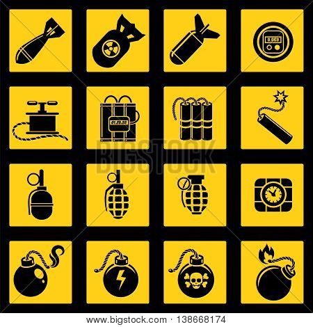 Flat icons set with bombs dynamites timers and military rockets. Vector illustration