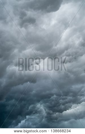 Dark stormy clouds right before a thunderstorm. Nature and disaster background.