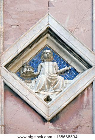 FLORENCE, ITALY - JUNE 05: Luna by Collaborator of Andrea Pisano (Master of Luna), 1337-41., Relief on Giotto Campanile of Cattedrale di Santa Maria del Fiore, Florence, Italy on June 05, 2015