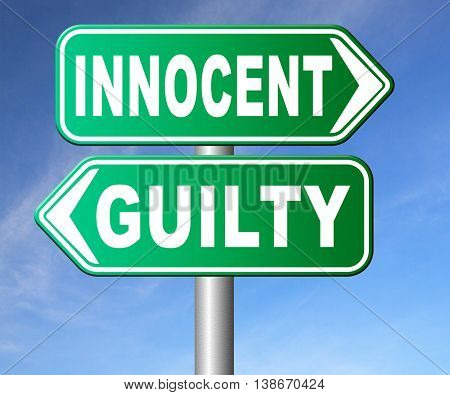 innocent or guilty presumption of innocence until proven guilt as charged in a fair trial for crime suspect  3D illustration, isolated, on white