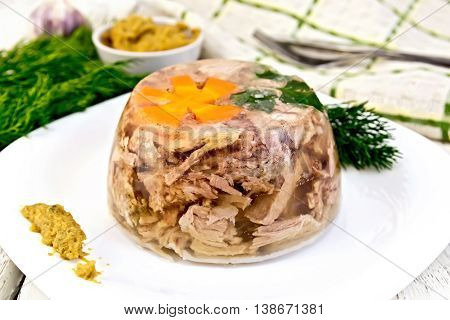Jellied pork meat and beef, decorated with a flower from carrots and parsley on a plate with mustard and dill, dish towel on the background light wooden boards