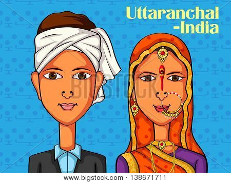 Vector design of Uttaranchali Couple in traditional costume of Uttaranchal, India