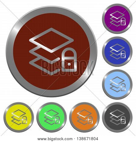Set of color glossy coin-like locked layers buttons.