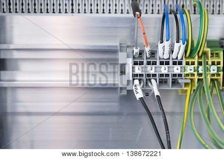 The panel connection of the electric wire.The control box with the electric wire on the panel