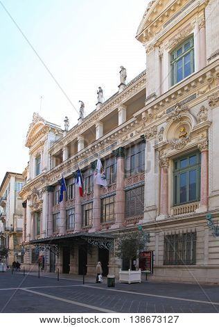 NICE FRANCE - JANUARY 17: Opera de Nice on JANUARY 17 2012. Opera House Theatre Ballet and the Philharmonic Orchestra Nice France.