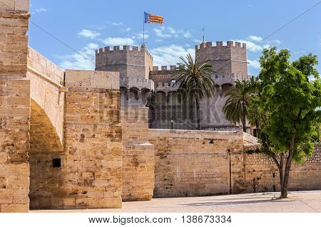 Tower Of Serranos,  One Of The Twelve Gates That Formed Part Of The Ancient City Wall, Valencia, Spa