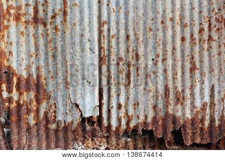 zinc rust Old damage rusty zinc plat wall