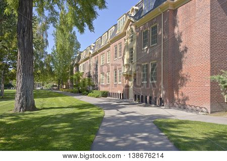 Whitman College building and park in Wala Wala Washington state.