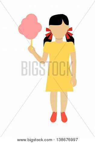 Child character without face with cotton candy in yellow dress vector. Flat design. Girl template personage illustration for child concepts, fashion app, logos, infographic. Isolated on white.