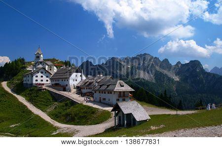 The Alpine village of Santuario del Monte Lussari in Italy