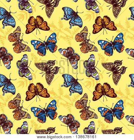 Beautiful hand drawn vector illustration sketching of butterflies. Boho style seamless pattern. Use for postcards, print for t-shirts, posters, wedding invitation, tissue, linens