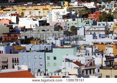 City views Los Llanos de Aridane on Canary Island La Palma from above