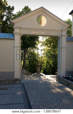 Mount St. Anna in Poland the gate to the monastery and the Basilica of the Franciscan