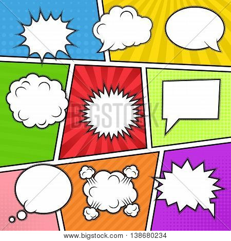 Set of nine different comic elements at colorful comic strip background. Speech bubbles, emotion and actions frames. Isolated, vector eps 10.
