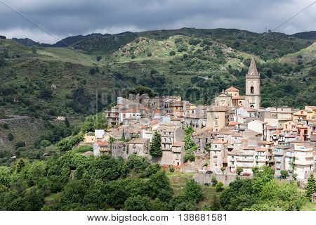 View at Novara di Sicilia inland mountain village of Sicily