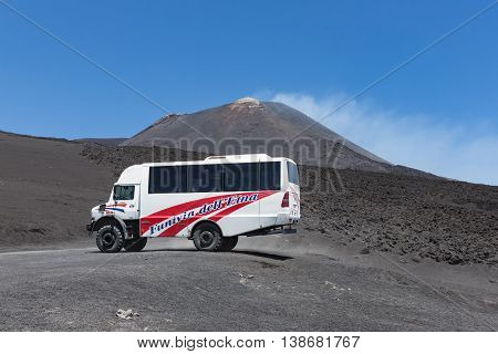 MOUNT ETNA ITALY - MAY 23: Landrover for sightseeing trips at Mount Etna on May 23 2016 at the island Sicily Italy