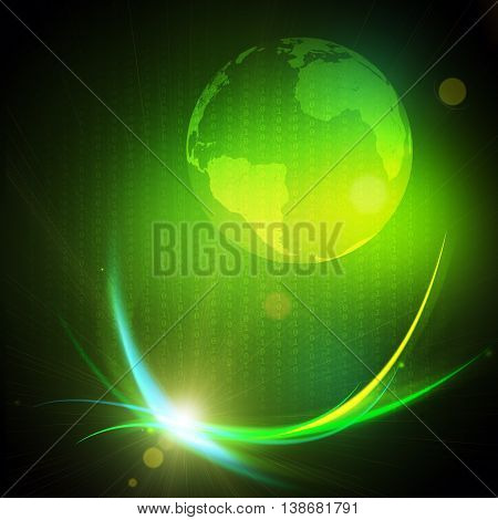 Gravitational wave burst, computer generated abstract green background. Elements of this image furnished by NASA