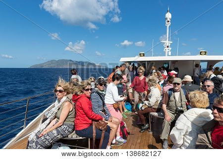 LIPARI ITALY - MAY 23: Cruise ship with tourists visiting the Aeolian Islands on May 24 2016 at Sicily Italy
