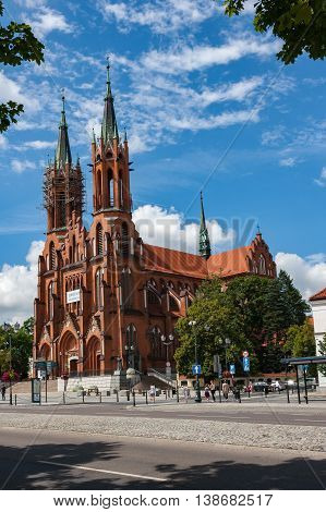 Bialystok Poland July 16 2016: The historic cathedral in Bialystok The Catholic Church zbydowany in the Gothic style of red brick