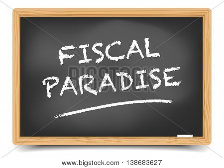 detailed illustration of a blackboard with Fiscal Paradise text, eps10 vector, gradient mesh included