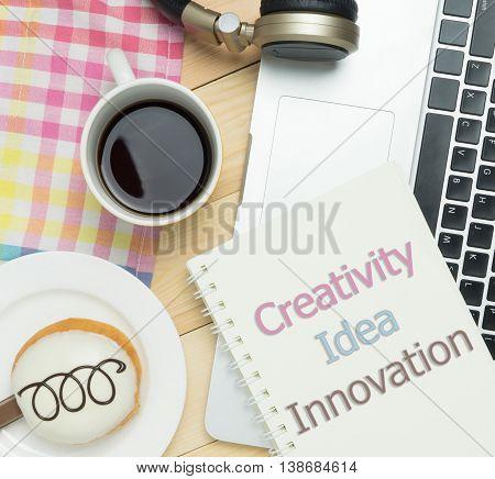 Creativity Idea Inovation on pastel cafe background