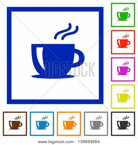 Set of color square framed cappuccino flat icons